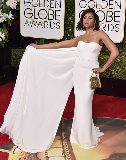 Taraji P. Henson arrives at the 73rd annual Golden Globe Awards on Sunday, Jan. 10, 2016, at the Beverly Hilton Hotel in Beverly Hills, Calif. (Photo by Jordan Strauss/Invision/AP)