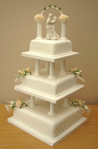 3-tier-square-wedding-cakes-with-pillars   Farah Novias