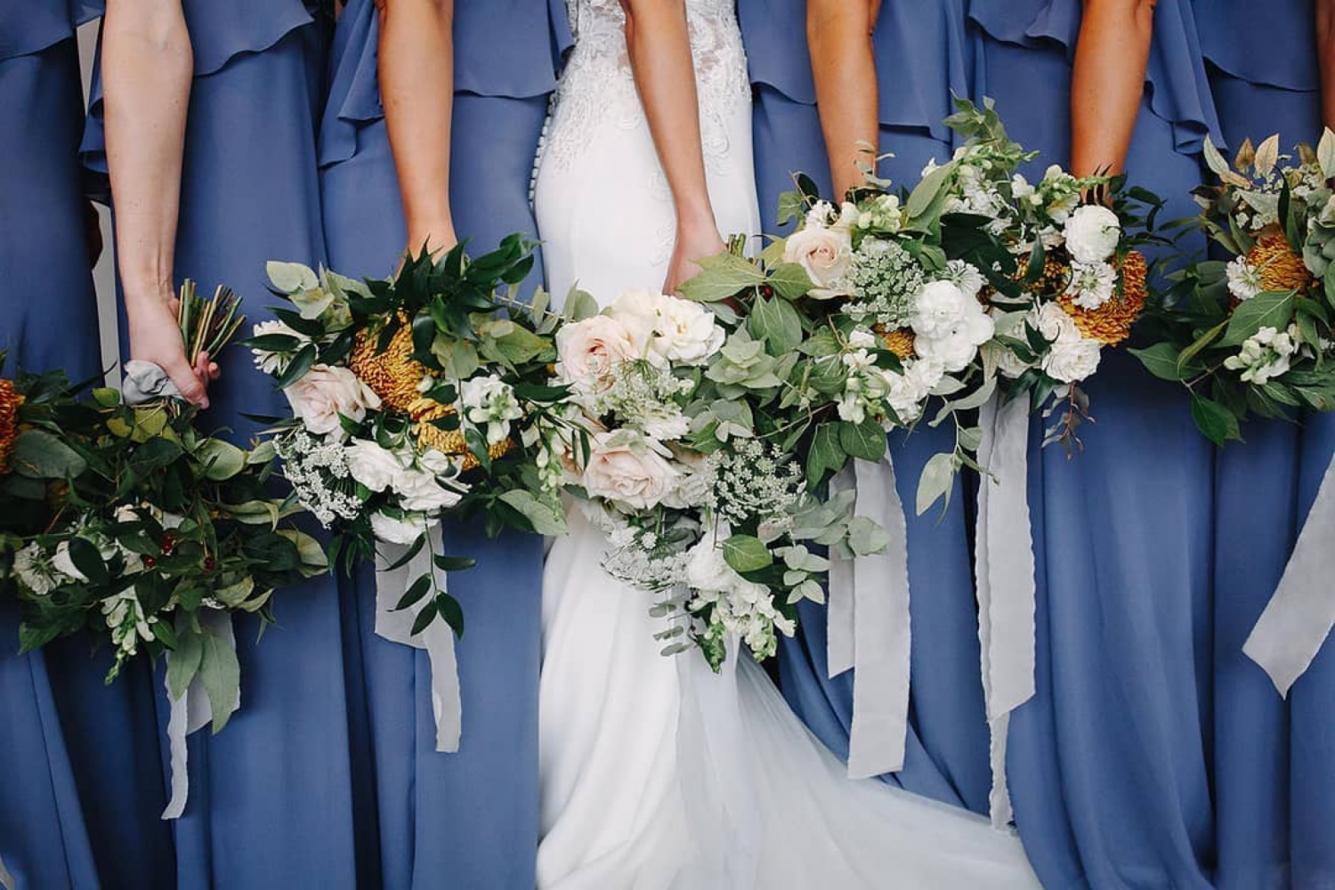 Bridesmaids Bouquets Adorned with Leaves
