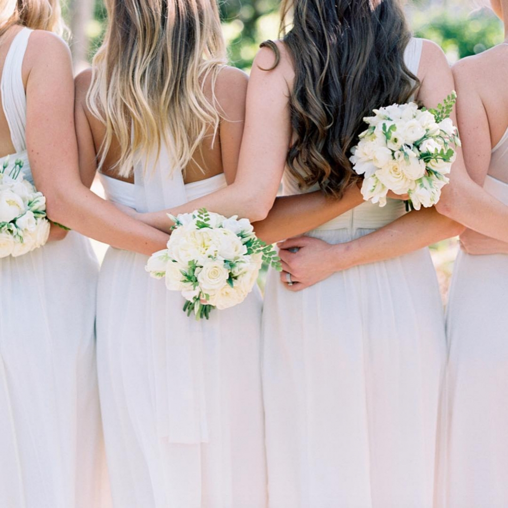All in White Bridesmaids Bouquet