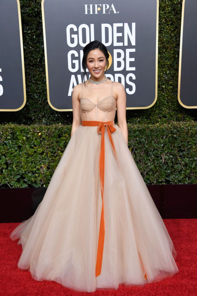 Constance Wu in custom Vera Wang Golden Globes 2019