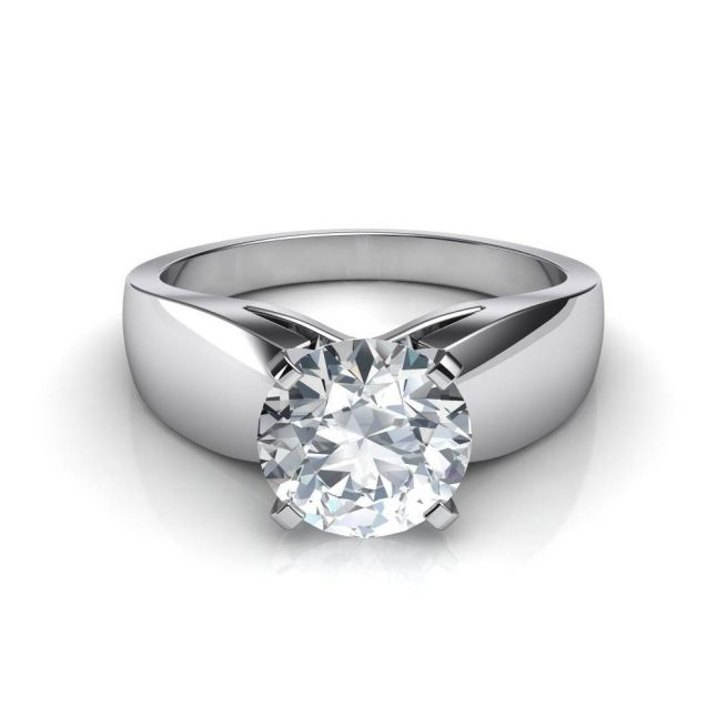 Wide-Band Solitaire Ring